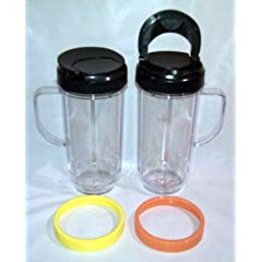 2 Bullet On The Go Mugs for Magic Bullet with Flip Top Travel Lids, 16 oz each