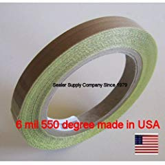 PTFE ONE Roll 1/2 inch x 10 Yards x 6 Mil Silicone 550 degree Adhesive Roll Cloth release surface on heat sealers